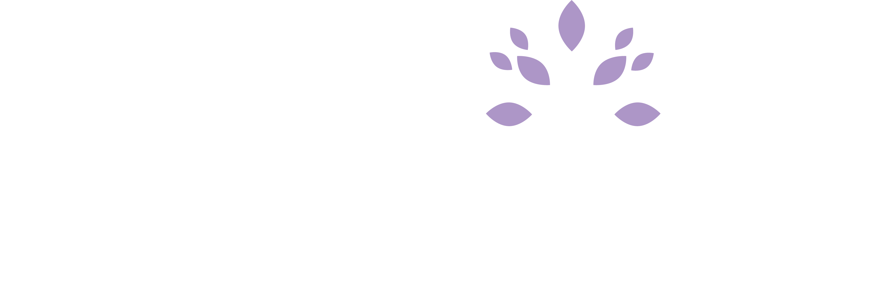 Sheltering Arms Tree logo reversed white purple