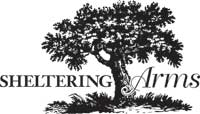 Black and white Sheltering Arms Tree logo