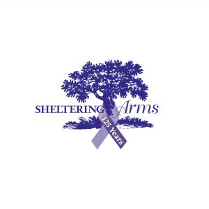 Dark Ribbon Color 125th Anniversary Sheltering Arms Tree logo